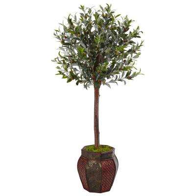Indoor Olive Topiary Artificial Tree in Weave Panel Planter