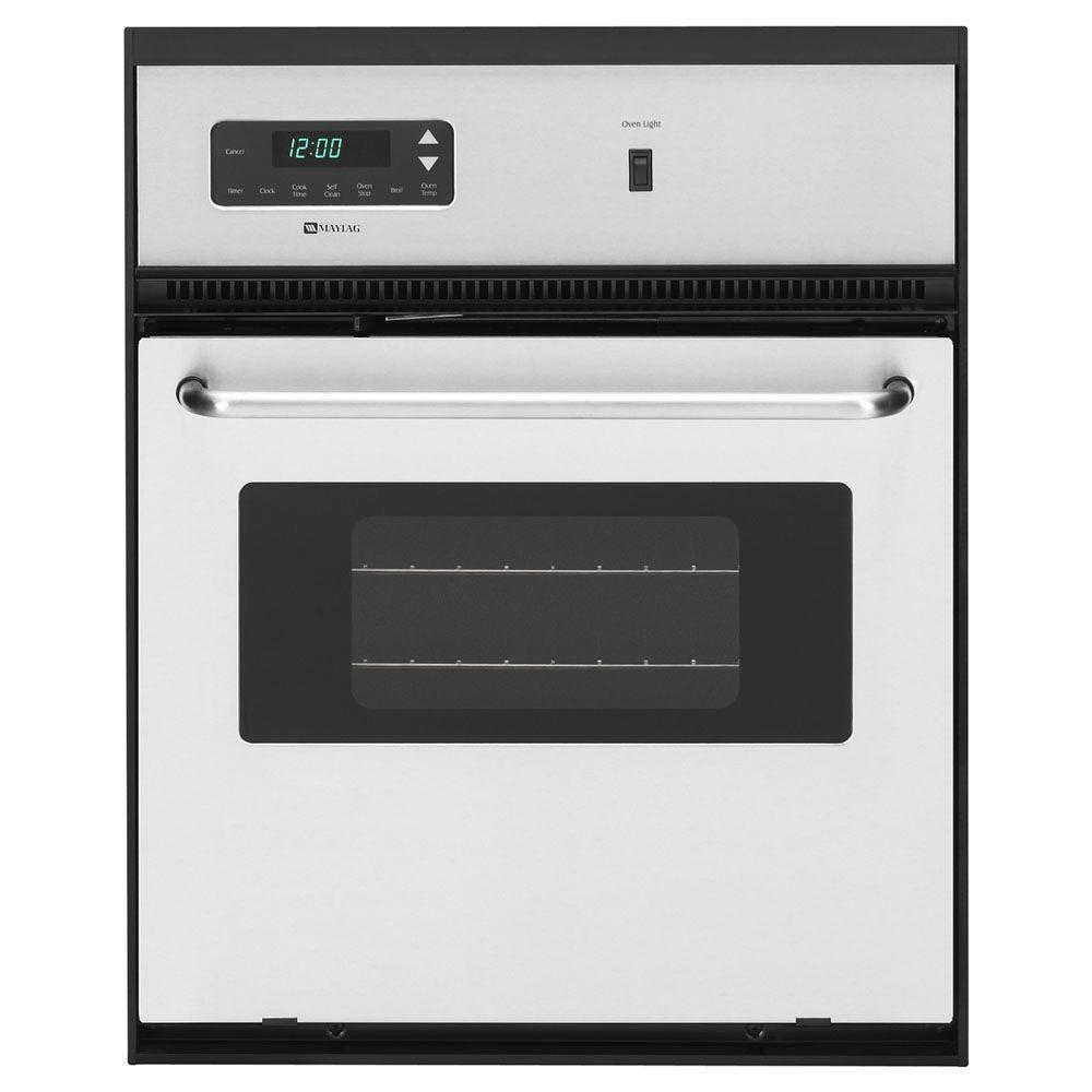 Maytag 24 in. Single Electric Wall Oven Self-Cleaning in Stainless Steel