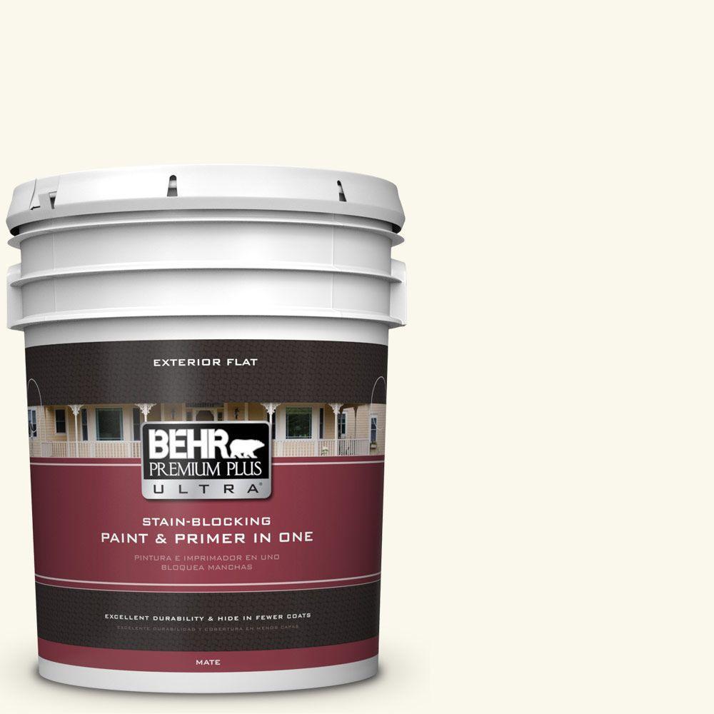 BEHR Premium Plus Ultra 5-gal. #BXC-29 Stately White Flat Exterior Paint