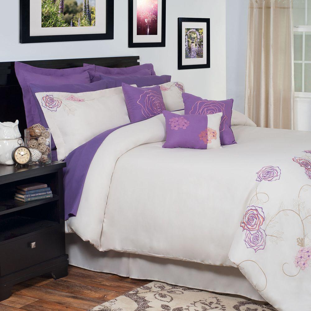 null Mia Purple Embroidered 14-Piece King Comforter Set
