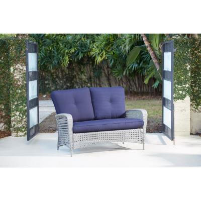 Lakewood Ranch 2-Piece Steel Woven Wicker Patio Conversation Set with Navy Cushions