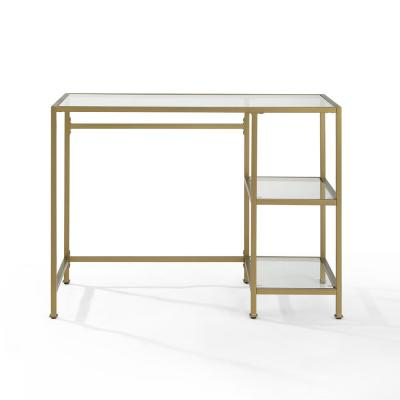 42 in. Rectangular Gold/Clear Writing Desk with Open Storage