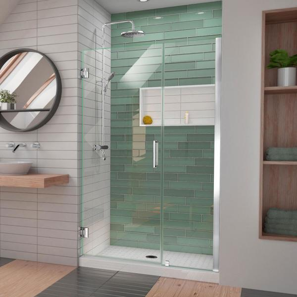 Unidoor-LS 46 in. to 47 in. W x 72 in. H Frameless Hinged Shower Door with L-Bar in Chrome