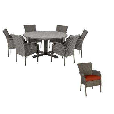 Grayson 7-Piece Ash Gray Wicker Outdoor Patio Dining Set with CushionGuard Quarry Red Cushions