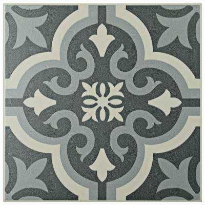 Braga Black 7-3/4 in. x 7-3/4 in. Ceramic Floor and Wall Tile (10.76 sq. ft. / case)