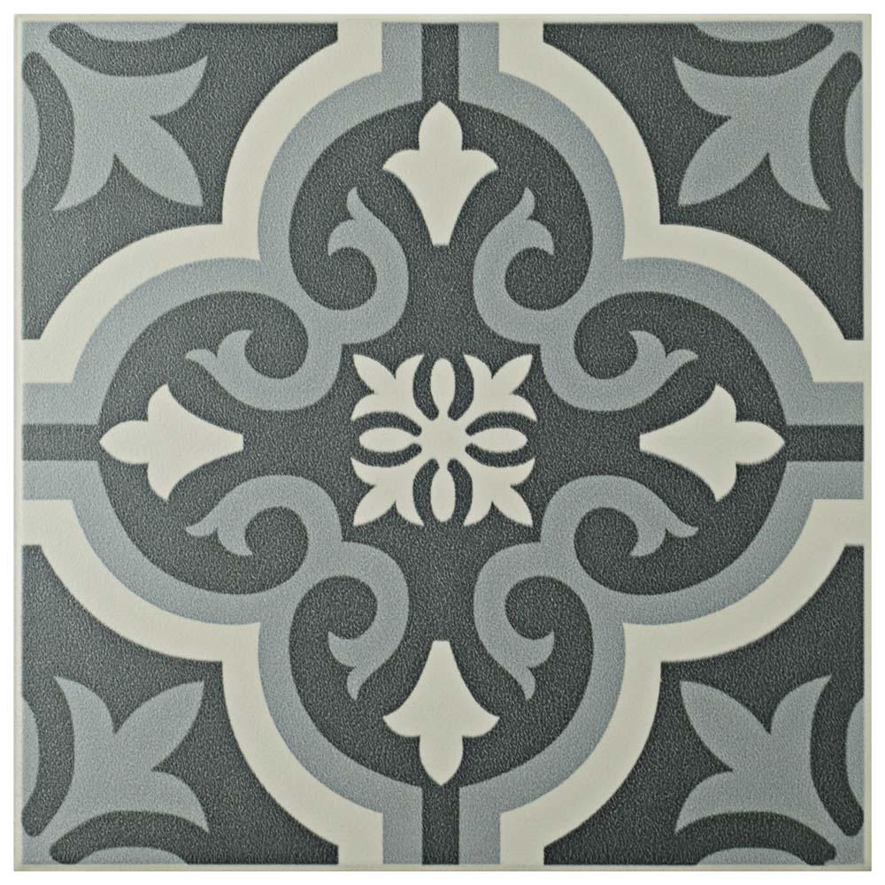 Braga Black 7-3/4 in. x 7-3/4 in. Ceramic Floor and Wall