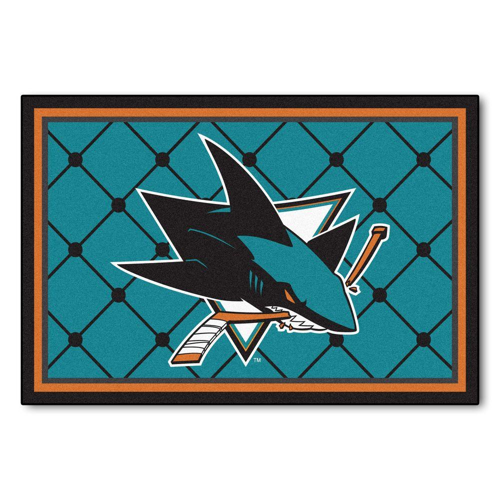 FANMATS NHL San Jose Sharks Teal 5 Ft. X 8 Ft. Indoor Area