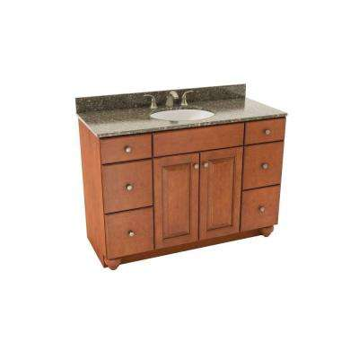 Charlottesville 49 in. Vanity in Cognac with Silestone Quartz Vanity Top in Mountain Mist and Oval White Sink