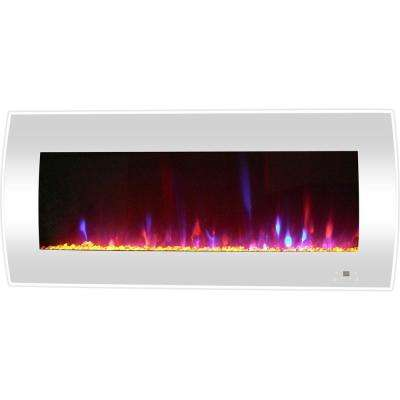 Curved 42 in. Wall-Mount Electric Fireplace in White with Crystal Rocks