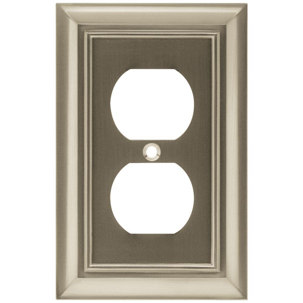 Liberty Architectural 1 Duplex Outlet Wall Plate - Satin Nickel