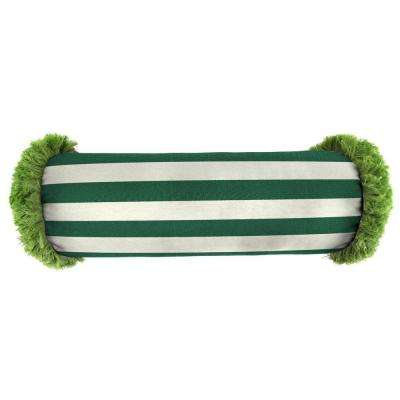 Sunbrella 7 in. x 20 in. Mason Forest Green Bolster Outdoor Pillow with Gingko Fringe