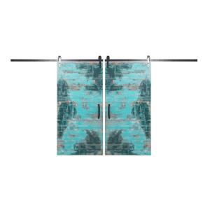 Rustica Hardware Bi-Parting 42 inch x 84 inch Rustica Reclaimed Aqua Barn Doors with Oil Rubbed Bronze Arrow... by Rustica Hardware