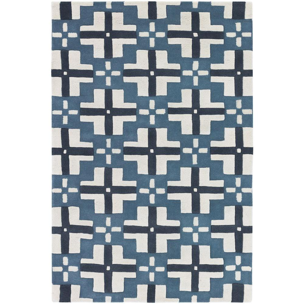 Chandra Parson Blue/White 5 ft. x 7 ft. 6 in. Indoor Area Rug