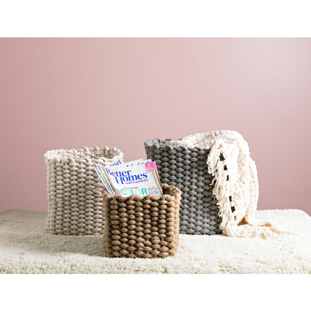 Natural Cotton Rope Baskets (Set of 3)