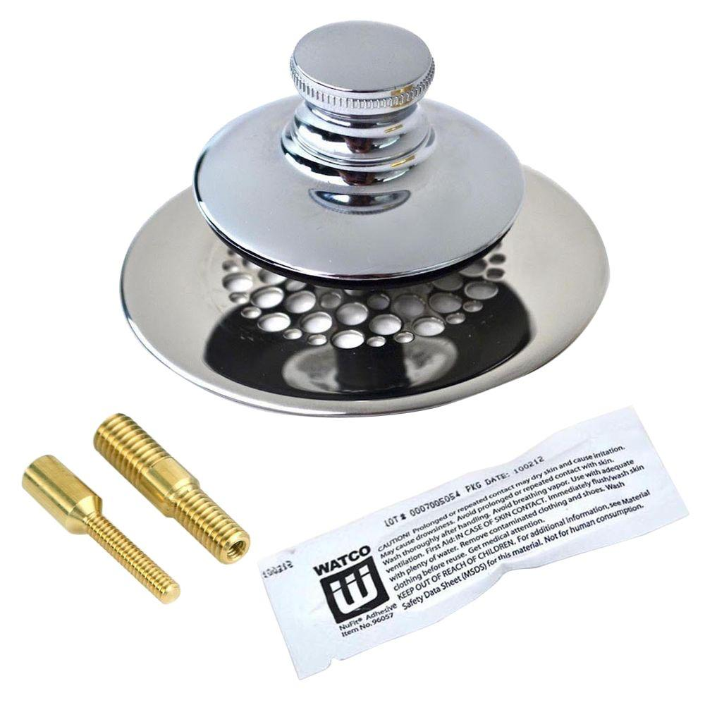 Watco Universal NuFit Push Pull Bathtub Stopper with Grid Strainer ...