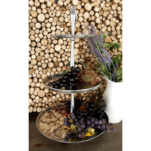 Litton Lane 25 in. Polished Silver Aluminum 3-Tiered Round Tray Stand