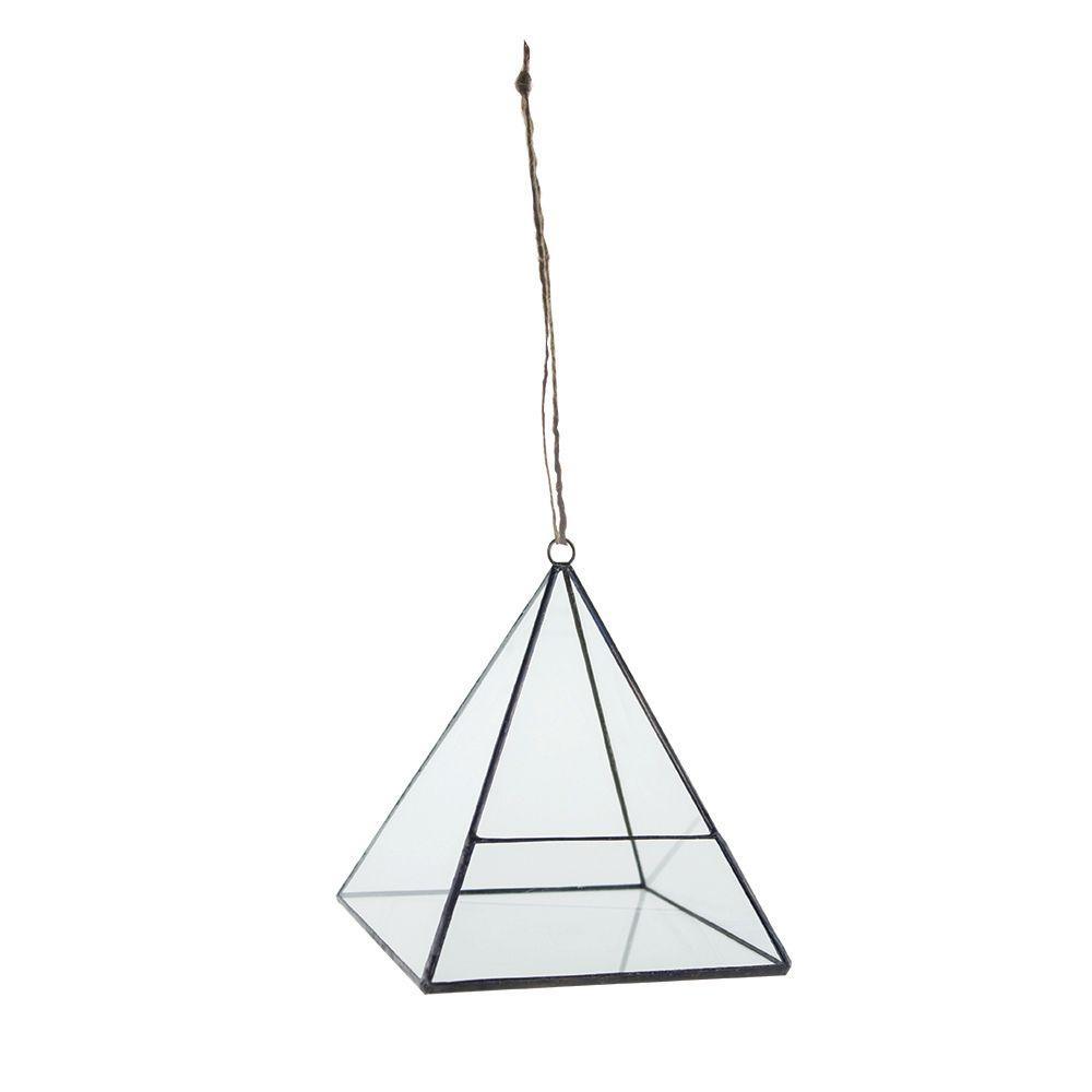 6 in. Geometric Terrarium Crystal Glass Pyramid Hanging