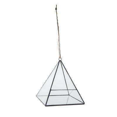 6 in. Geometric Terrarium Crystal Glass Pyramid Hanging