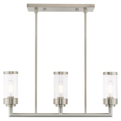 Hillcrest 3-Light Brushed Nickel Linear Chandelier with Clear Glass Shades