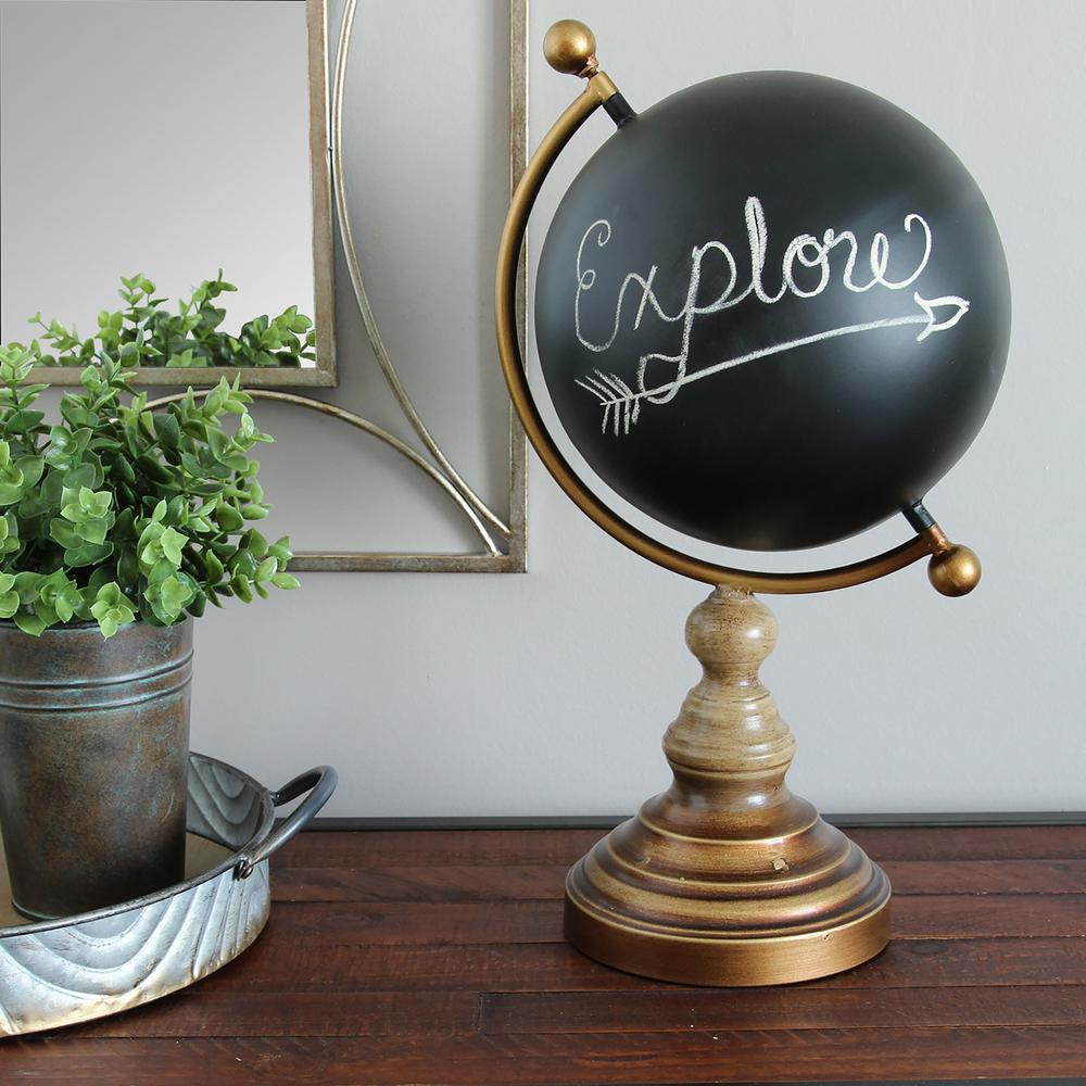 Stratton Home Decor Chalkboard Globe Metal Table Top Decor