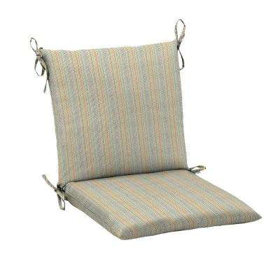 Ticking Stripe Mid Back Outdoor Chair Cushion