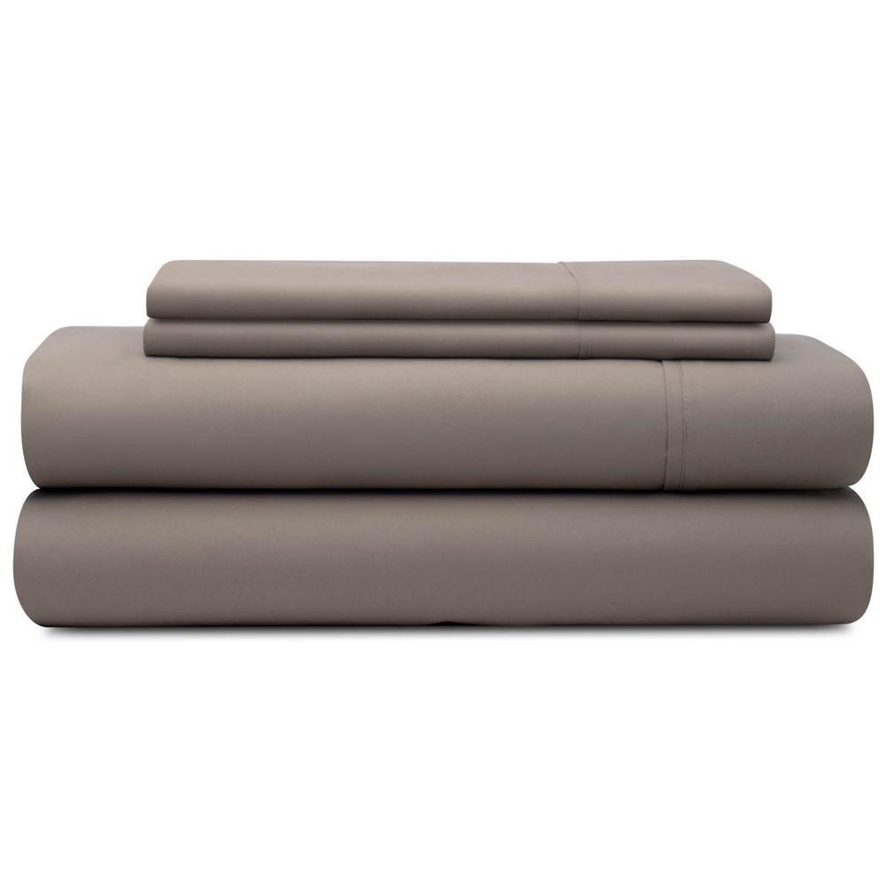 4-Piece Sandstone Microfiber Cal King Sheet Set