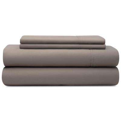 4-Piece Sandstone Microfiber Cal King Sheet Set