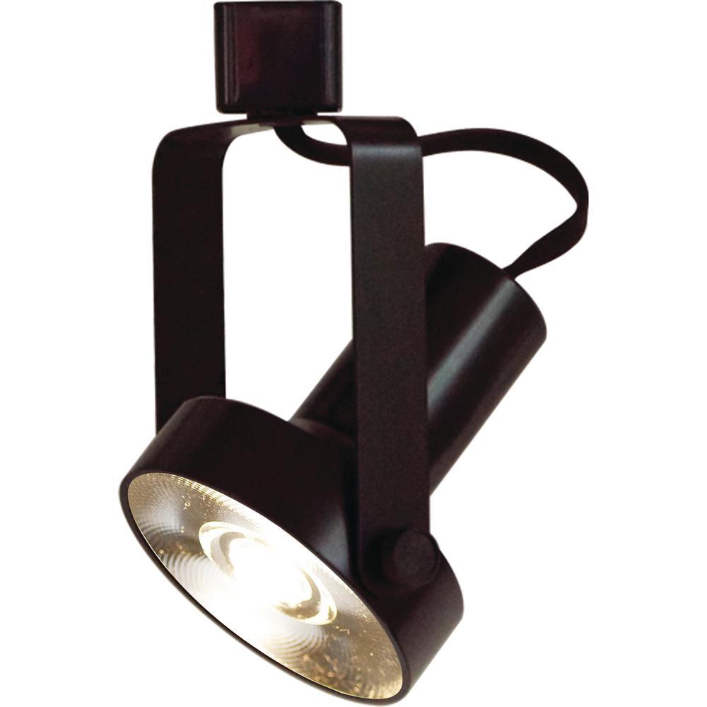 1-Light Indoor Interior Black Gimbal Ring Integrated LED Track Lighting Head
