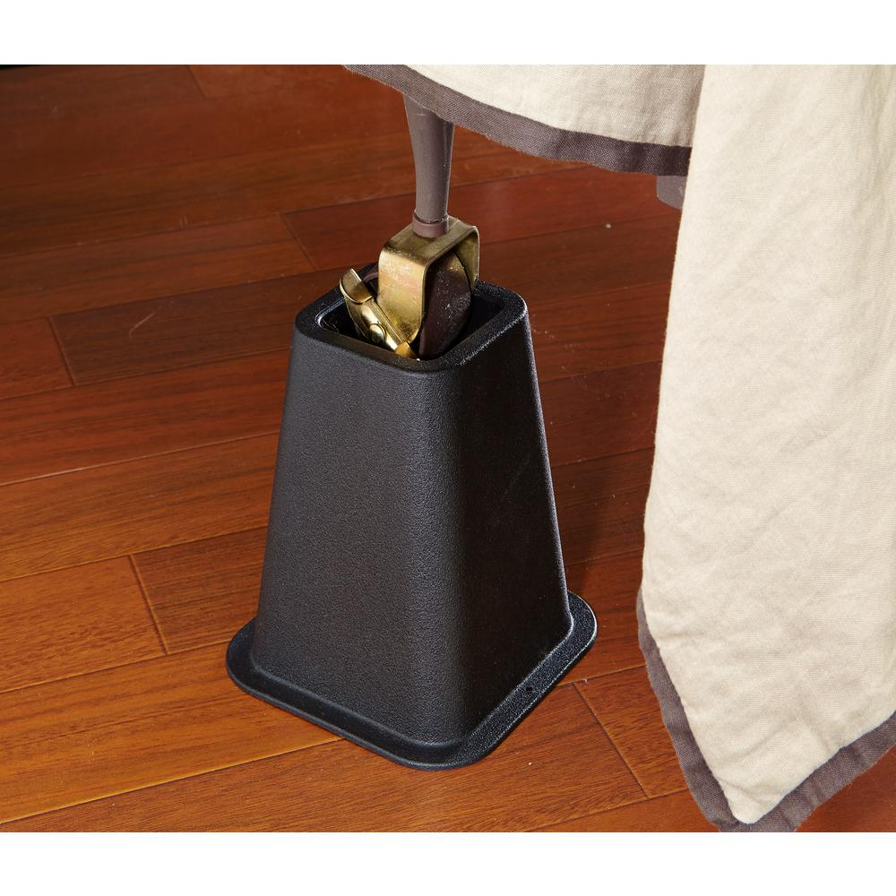 Steel Bed Risers Black a set of 6 6 inch Lift
