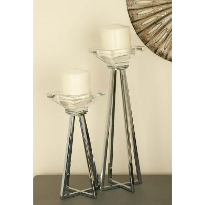 CosmoLiving by Cosmopolitan Modern Glass Metal Prism Candle Holders (Set of 3), Clear