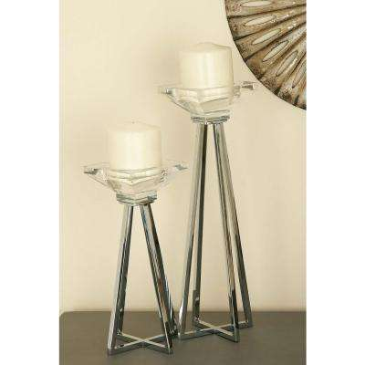 Modern Glass Metal Prism Candle Holders (Set of 3)
