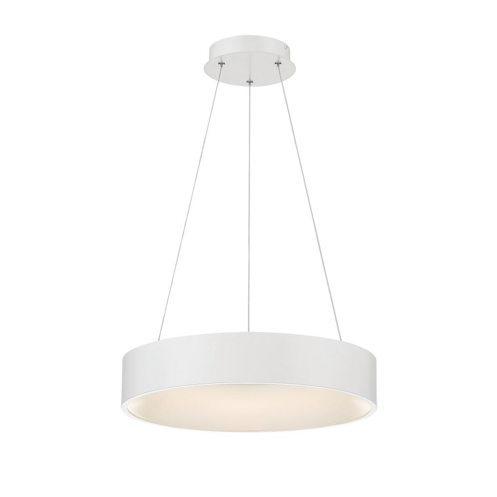 Home Decorators Collection Hollandale 100-Watt Equivalence Integrated LED White Pendant