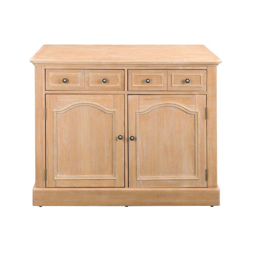 Cambridge White Washed Natural Kitchen Island with Wood Top