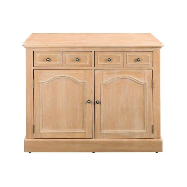 Home Styles Cambridge White Washed Natural Kitchen Island with Wood Top