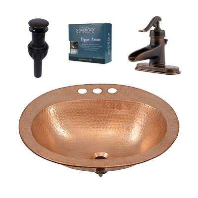 Kelvin All-in-One Drop-In Copper Bathroom Sink Design Kit with Pfister Faucet and Drain in Bronze