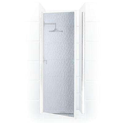 Legend Series 26 in. x 64 in. Framed Hinged Shower Door in Platinum with Obscure Glass