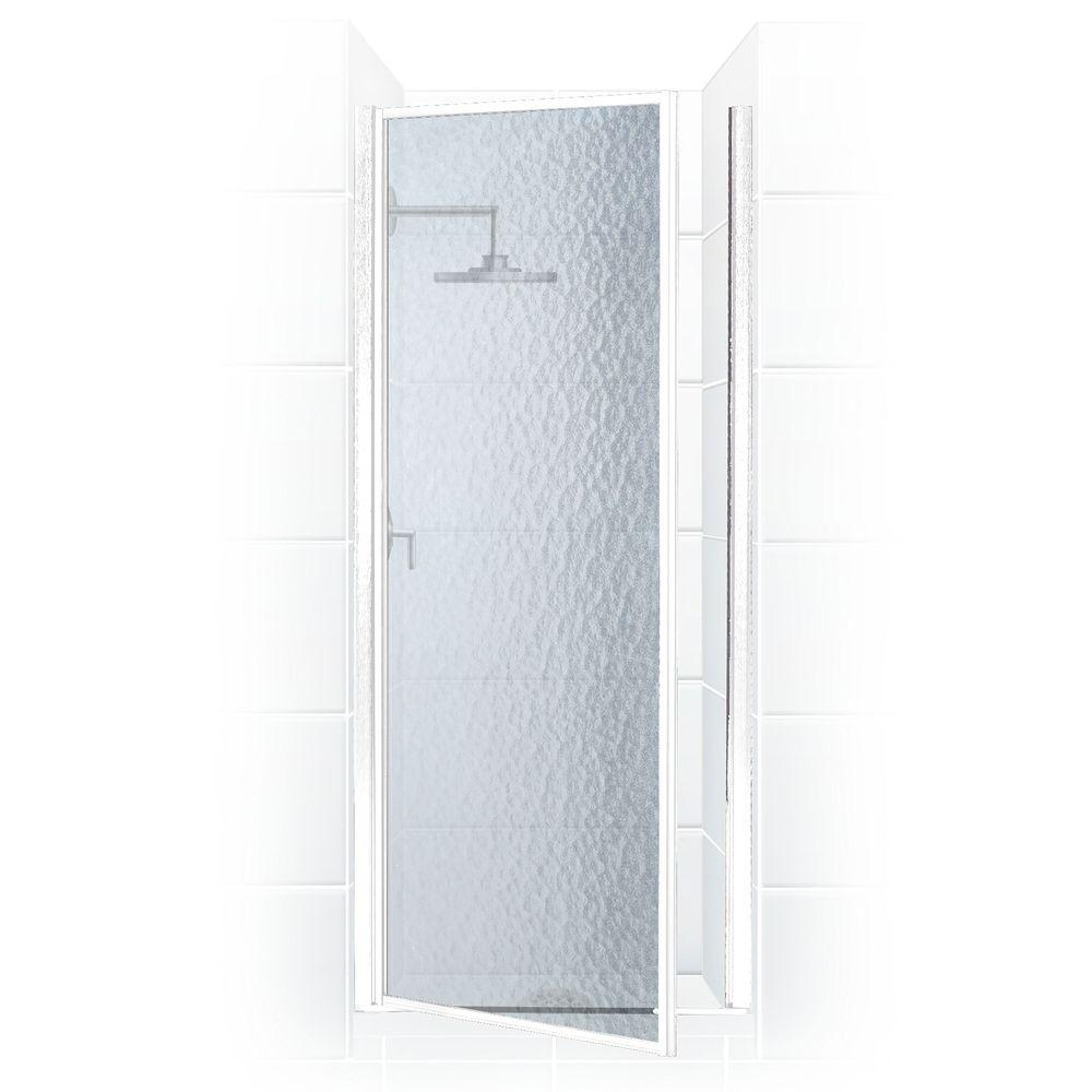 Coastal Shower Doors Legend Series 28 in. x 64 in. Framed Hinged Shower Door in Platinum with Obscure Glass