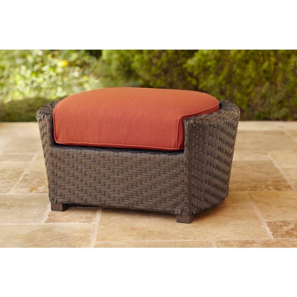Brown Jordan Highland Patio Ottoman With Cinnabar Cushion