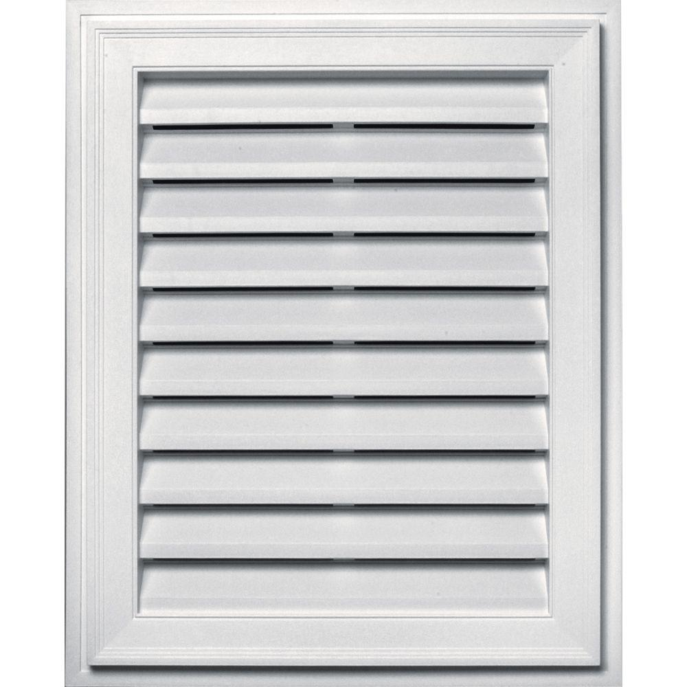20 in. x 30 in. Brickmould Gable Vent in Bright White
