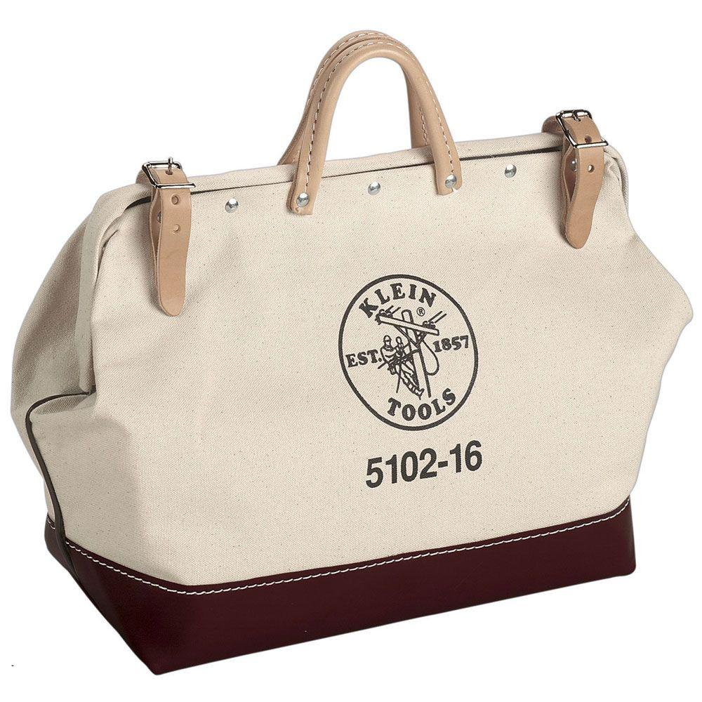 16 in. Canvas Tool Bag,  White