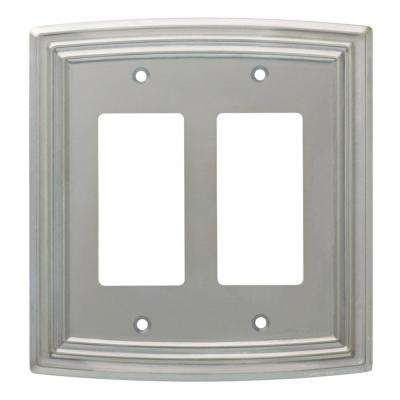 Emery Decorative Double Rocker Switch Cover, Satin Nickel