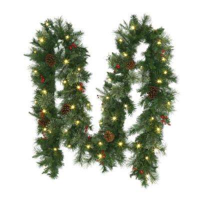 12 ft. Pre-Lit Syracuse Artificial Christmas Garland with Warm White LED Lights Decorated With Pinecones and Berries