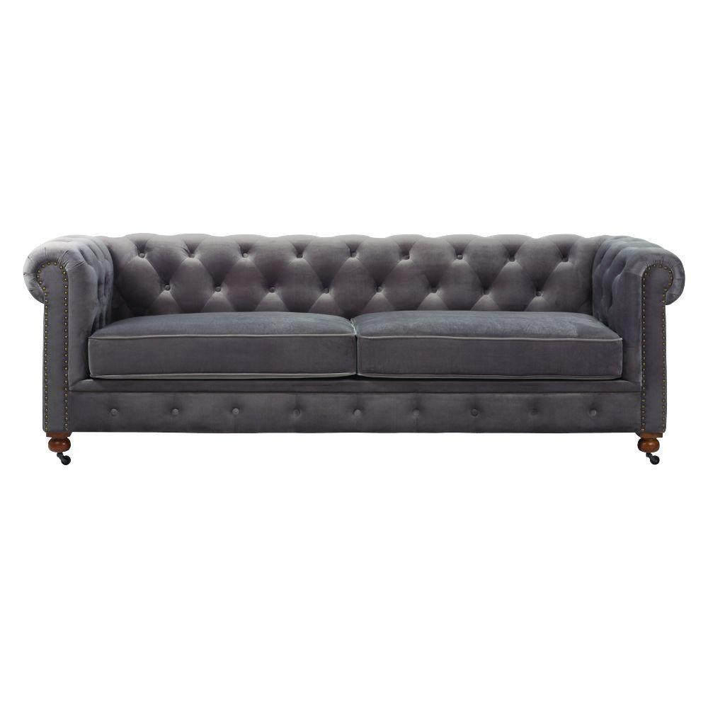 Etonnant Home Decorators Collection Gordon Grey Velvet Sofa