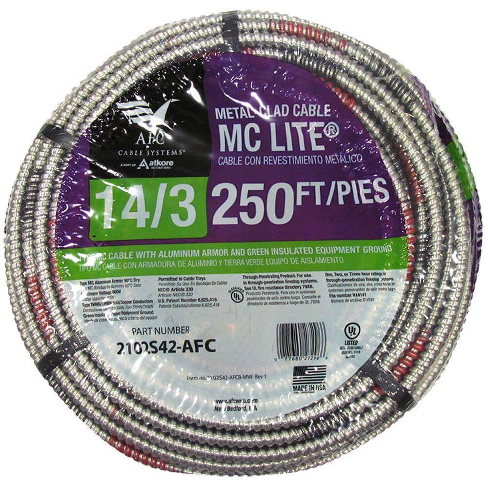 AFC Cable Systems 14/3 x 250 ft. Solid MC Lite Cable