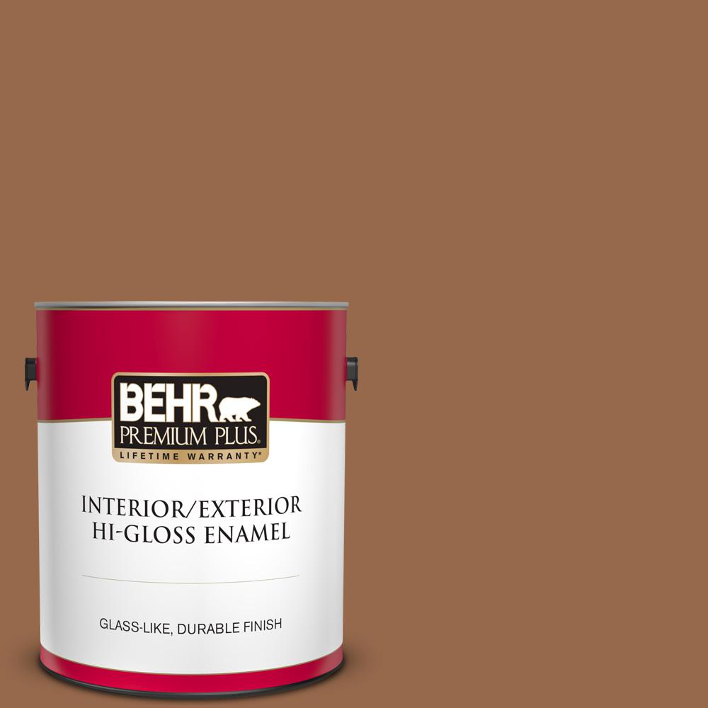 Behr Premium Plus 1 Gal S230 7 Toasted Bagel Hi Gloss Enamel Interior Exterior Paint 830001 The Home Depot