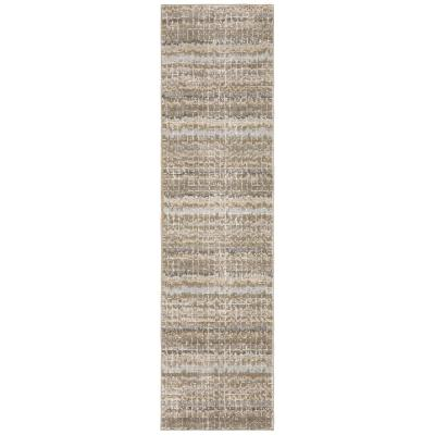 Unbranded Audrey Ivory Grey 2 Ft X 12 Ft Striped Runner Rug 000437 The Home Depot