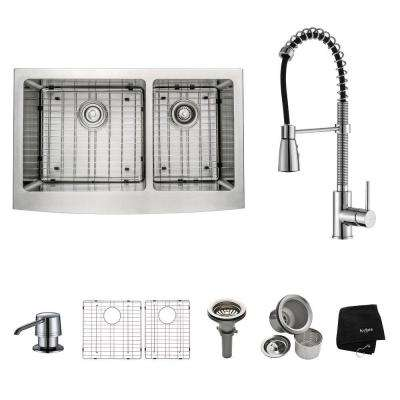 All-in-One Farmhouse Apron Front Stainless Steel 33 in. Double Bowl Kitchen Sink with Chrome Faucet