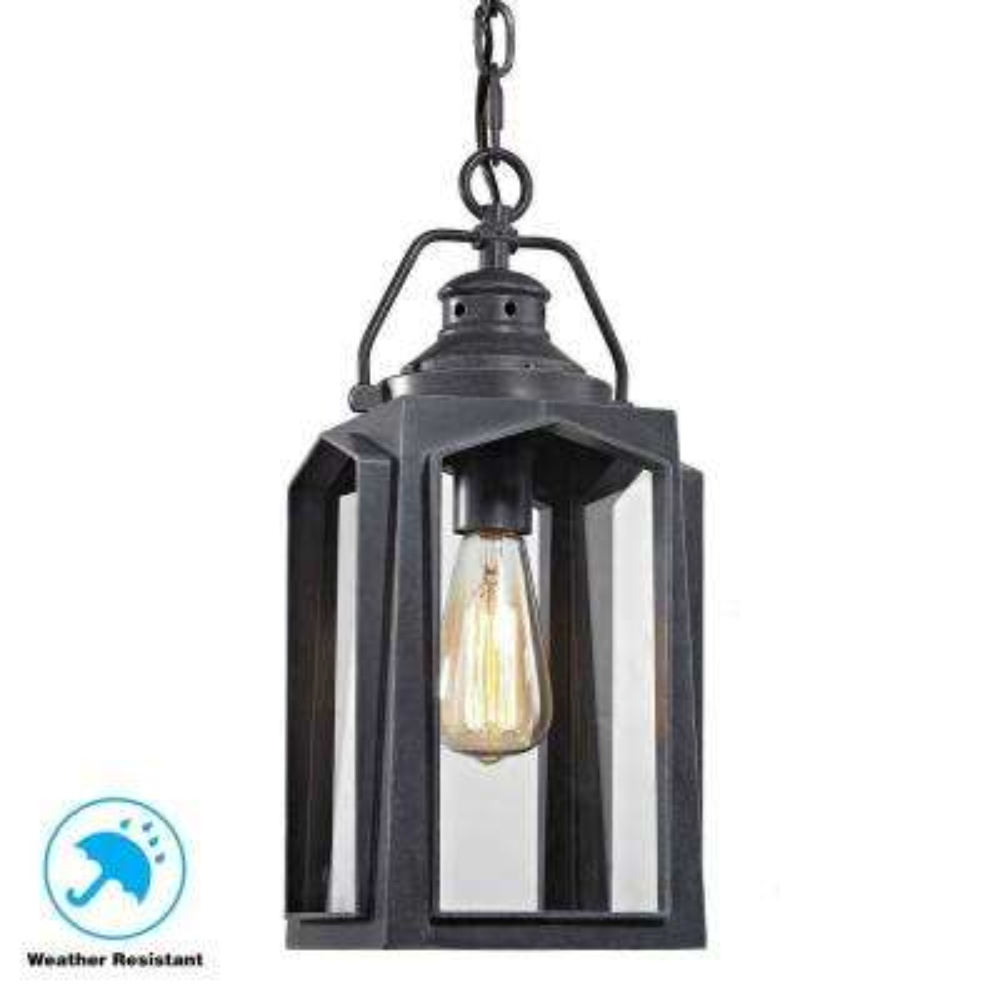 1 Light Charred Iron Medium Outdoor Hanging Pendant