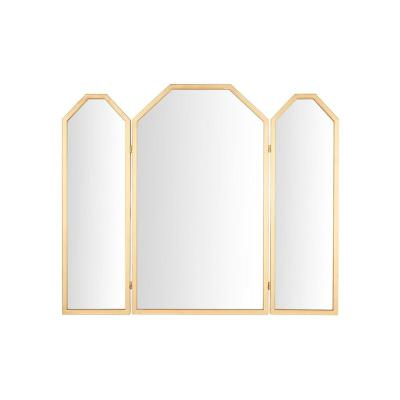 Medium Rectangle Gold Art Deco Accent Mirror with Adjustable Side Mirrors (36 in. H x 43 in. W)