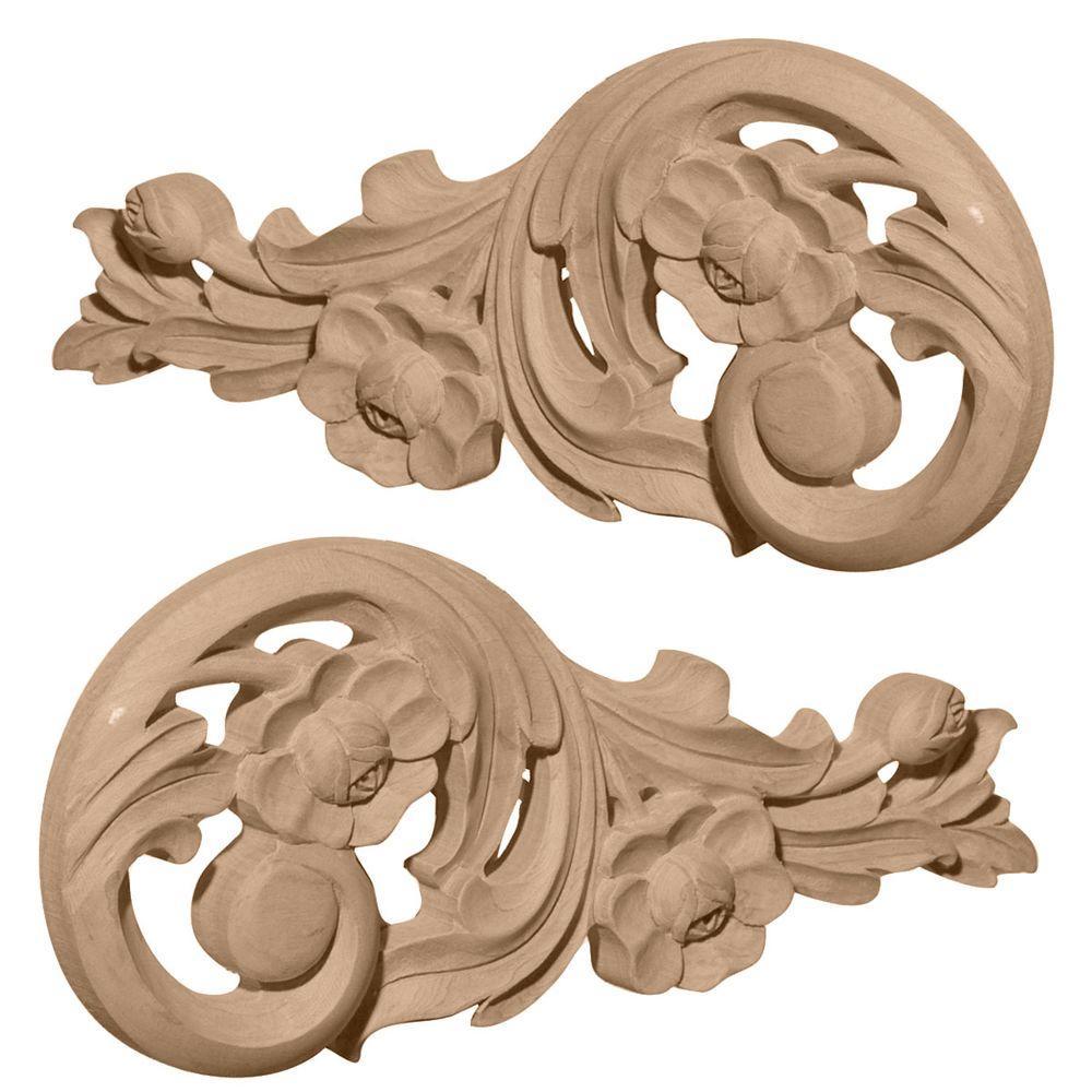 Ekena Millwork 3/4 in. x 9-3/4 in. x 4-3/4 in. Unfinished Wood Alder Medium Springtime Scrolls